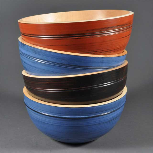 Coloured Wood Bowls by Corin Flood